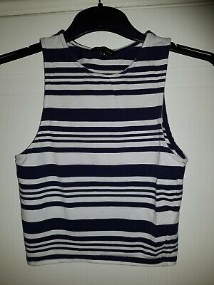 New Look Crop Vest - Blue and White Hoops - Size 8 - Great Condition