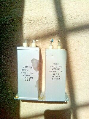 2 Capacitors PIO Static made 1950's 4 uf 4 mfd tested good size and spec as TCC