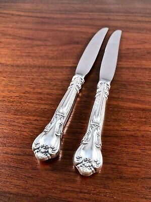 (2) Gorham Co. Sterling Silver Handled Dinner Knives: Chantilly No Monograms