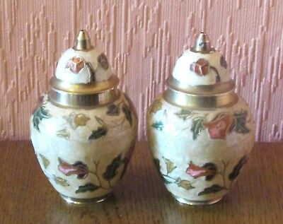 """Matching Pair of Chinese Canton Brass / Enamel 4"""" Lidded Jars with Pink Flowers."""