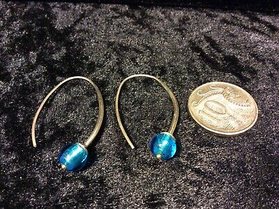 Sterling Silver Hook Earrings With Glass Beads