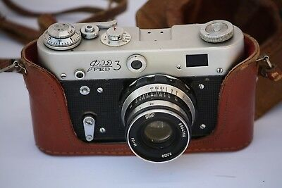 FED 3 USSR Rangefinder Camera with Leather Case I61 2.8 52mm Lens RUSSIA
