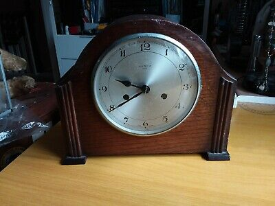 Vintage Enfield Art Deco wooden Mantle clock. James Walker London