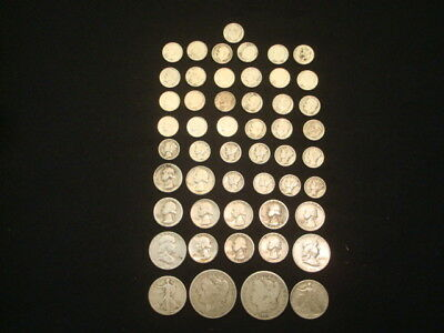 $10 Face Value Lot Of 90% Silver U.s. Coins Mixed Variety L6