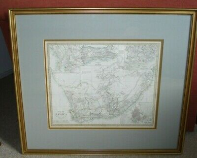 Framed Hand coloured Map of South Africa dated 1834. Colonial Office Map