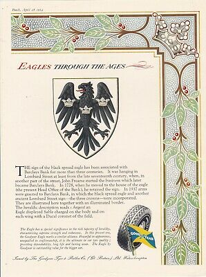 Original 1954 Magazine Advert For Good Year. Eagles Through The Ages.  Barclays
