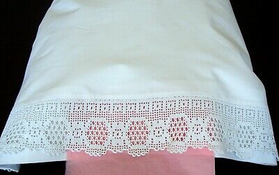 Pair White Pure Cotton Pillowcases / Vintage Crocheted Lace ~ Pristine