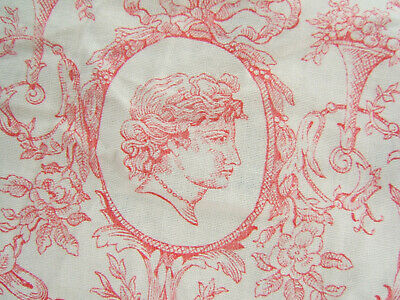 TISSU ANCIEN GUIRLANDES ROSES MEDAILLONS VISAGE RINCEAUX french FABRIC FADED