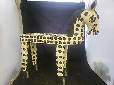 "Vtg Antique WOOD Carved Folk Art HORSE 23"" hand painted bench childs seat Rare!"