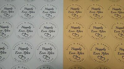 "105 Personalised ""Happily Ever After"" Gold or Silver Favour Stickers (#307)"
