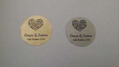 105 Personalised Wedding Heart Favours Stickers Labels Metallic Gold or Silver