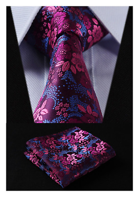 Mens Floral Tie Handkerchief Jacquard Woven Flower Necktie and Pocket NEW