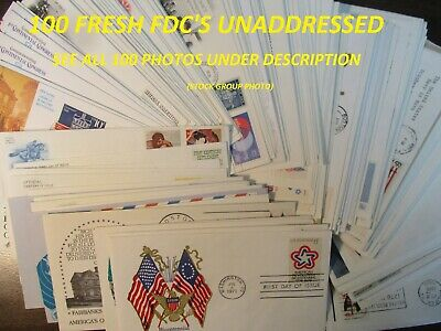 Kappys Jkfdc-5 100 Different Usa Fdc Cacheted  Unaddressed Covers See All Below