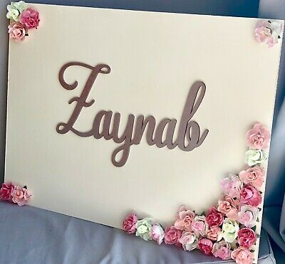 Personalised Children Wooden Floral Name Door Wall Sign Plaque Large Girl