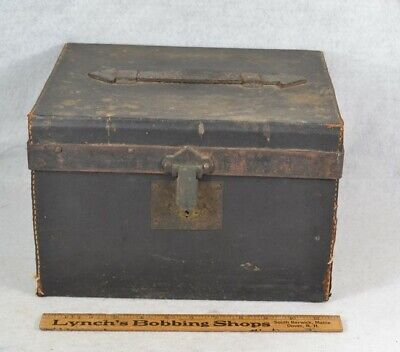 document box trunk leather fitted interior Civil War Era 19th c 1800 antique