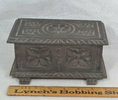 antique hand carved wooden box small miniature blanket ornate 19th c  7 x 3x 3""