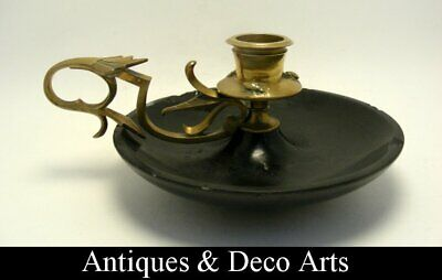Arts & Crafts Chamber Stick or Candle Stick made from Brass & Slate