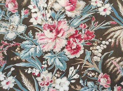 Stunning 19th Century French Floral Printed Cotton & Linen fabric Shabby Chic