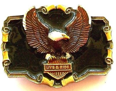 True Vintage LIVE & RIDE MOTORCYCLE EAGLE Brass Plated & Enameled Belt Buckle