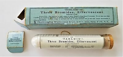 antique THREE BROMIDES effervescent w TABLOID CONTENT quack medicine BOX large