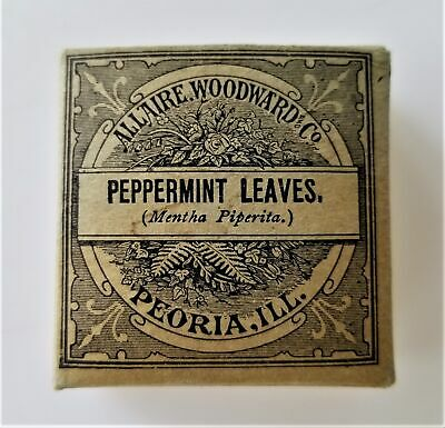 1906 antique Unused PEPPERMINT LEAVES QUACK MEDICINE Allaire Woodward STIMULANT