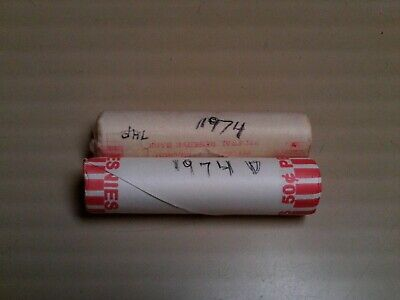 1974 P & 1974 D Unc Penny Rolls 1 Roll Each Date Unc  Lincoln Memorial Cents