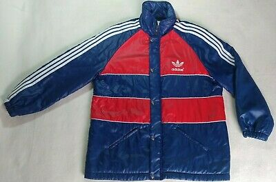 8eee0bb50b Vintage 80's 90's Adidas Long Jacket Rare Red Blue Bench Coat Trefoil Size  XL