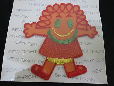 "1971 VTG Talon Sew On Patch Applique Colorful Girl Curly Hair Large 4.75"" NIP"