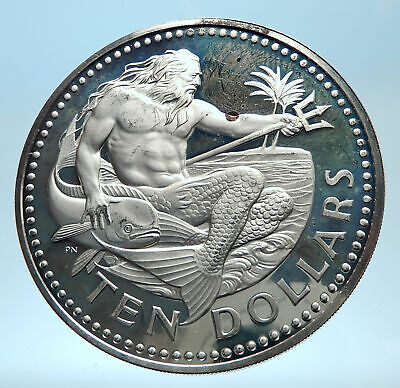 1973 BARBADOS Huge 4.2cm Genuine Proof Silver 10 Dollars Coin w NEPTUNE i77445
