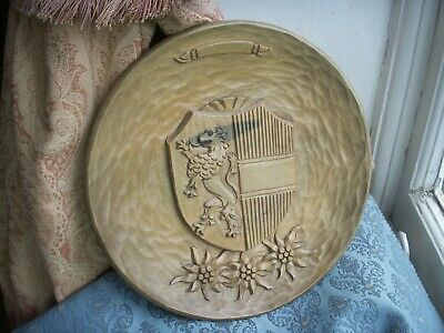 Old Vintage Antique Black Forest Carving Salzburg Austrian Wooden Plaque Plate