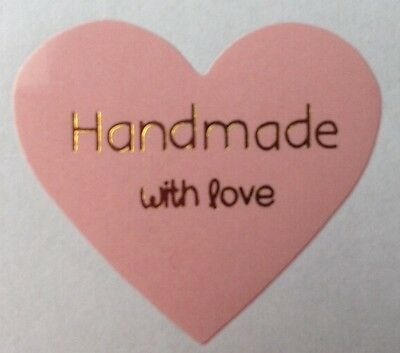 OFFER! x100 Pink Heart Hand Made With Love Stickers - Gift Shop handmade wedding