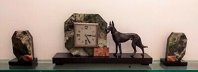 Art Deco Clock Garniture Marble Alsatian Figure German Shepherd Onyx French