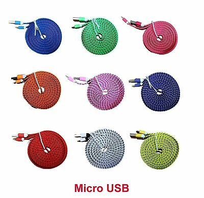 Micro USB Sync Data Charge Braided Flat Cable 6 Feet (6 FT),  2 Meters (2 M)