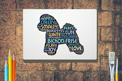 Bichon Frise Dog Word Art Canvas A4 A3 A2A1 Mothers Day Gift Personalised Option