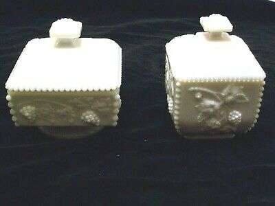 Pair Of White Milk Glass Candy Or Trinket Bowls - Lidded - Grape & Cable Pattern