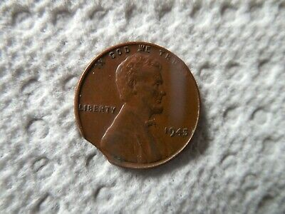 1945 Lincoln Wheat Cent Penny Clipped Planchet 1c Coin Error