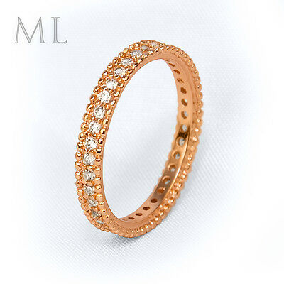 Womens Delicate 0.15 CT Promise Band Anniversary RING Rose Gold Plated SIZE 6-9