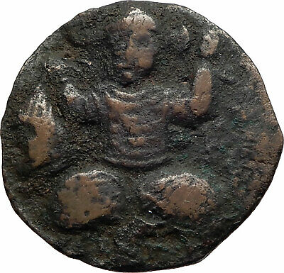 ISLAMIC Ancient ARTUQUIDS of MARDIN Medieval 1199AD Coin TURK holds HEAD i75320