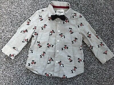 Boys 9-12 months mickey mouse shirt and bow tie primark smart party
