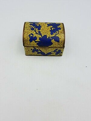 Chinese Cloisonne Enamel Trinket Box Pot Trunk Chest Shaped Yellow Blue Floral