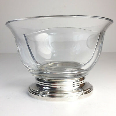 Vintage Divided Glass Bowl Sterling Silver Base R. Blackinton Co X851 Exc Cond