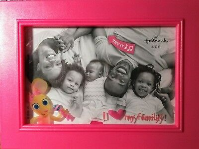 "Bunny/Musical Picture Frame ""I Love My Family"" Hot Pink/Hallmark Keepsake/NEW"