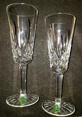"""Waterford Lismore Champagne Flutes, 7 1/4"""", one pair"""