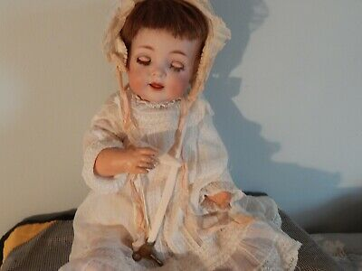 VERY RARE ANTIQUE GERMAN MECHANICAL DOLL BY KR 122 WITH KEY 19 inches tall