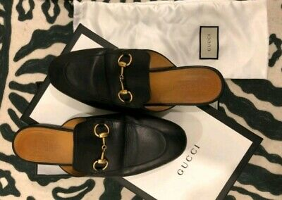 e681a7b11d1 Gucci Princetown black 6 36 leather horsebit slide on mule loafer shoe  695.