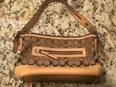 "Very Good Condition Small Authentic COACH Tan/Brown Purse w/ Classic ""C"" Logo"