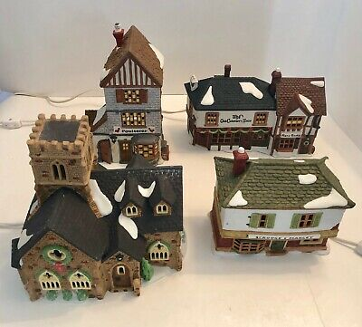 Vintage Dept 56 Heritage Village Collection Dickens Village Series - Lot of 4