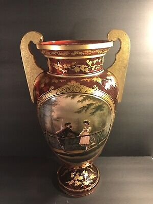 Antique Bohemian Ruby Red Glass Urn/ Moser. Gilt Enamel/ Painted Cartouche.C1890