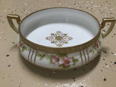 Antique Nippon Hand Painted Footed Handled Nut / Candy Dish (?) White Gilt