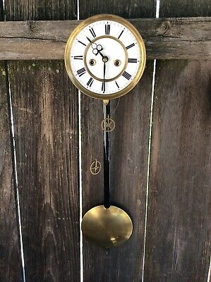 Antique Miniature Weight Driven Vienna Regulator Wall Clock Movement w/ Pendulum